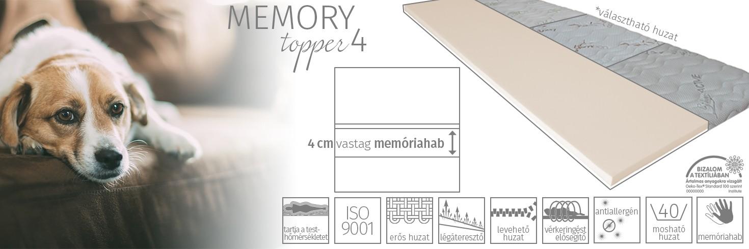Memory topper 4 fedőmatrac