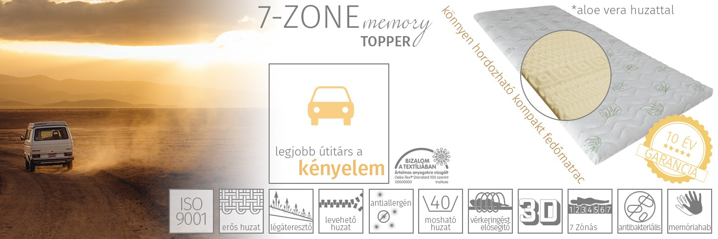 7-zone memory fedőmatrac