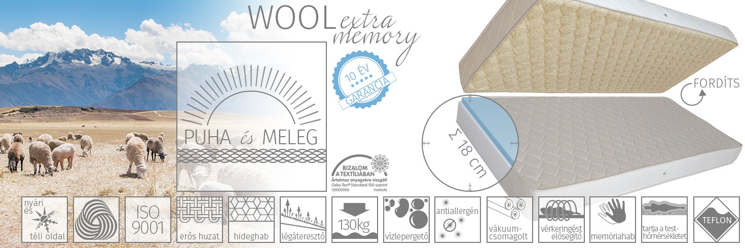 Wool extra memory matrac
