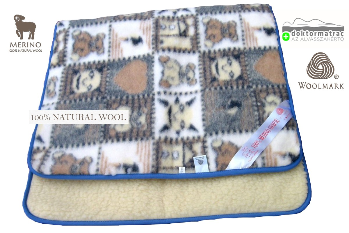Woolmark Merino Bárány gyapjú gyermek takaró 450g/m2